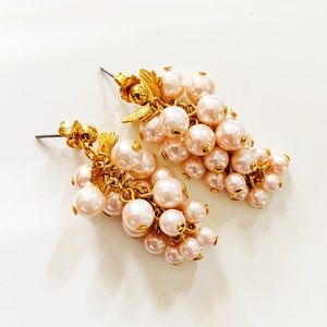 Vintage Avon Grape Faux Pearl Cluster Earrings